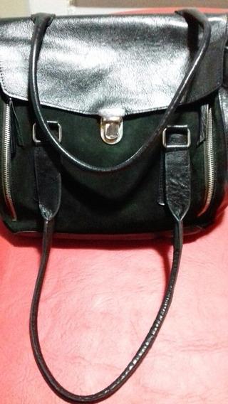 Cartera-bolso De Cuero Y Gamuza Negra C/ Hebilla. Impecable