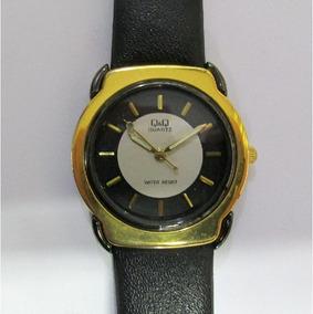 Relógio Q & Q Unissex Dourado Pulseira De Couro