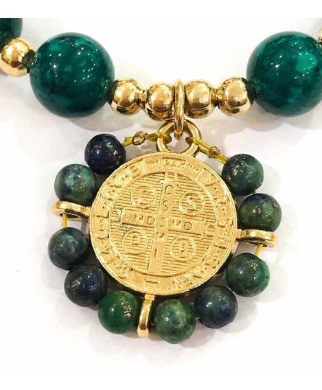 Pulsera Con Medalla De San Benito Bordada A Mano