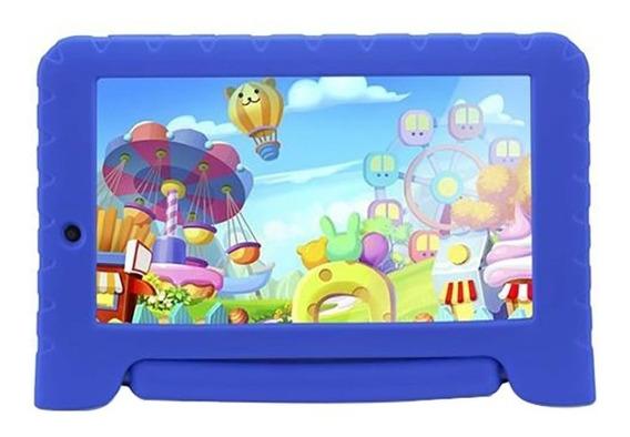 Tablet Infantil Com Jogos Azul Menino Criança Homologado Anatel 8gb 7pol Kid Pad Plus Quad Core + Case Emborrachado