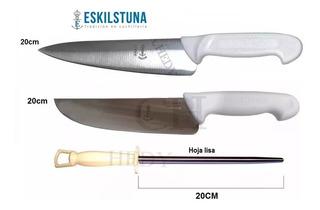 Set Cuchillos Eskilstuna Hoja 20cm Inox + Chaira Lisa 3 Pzas