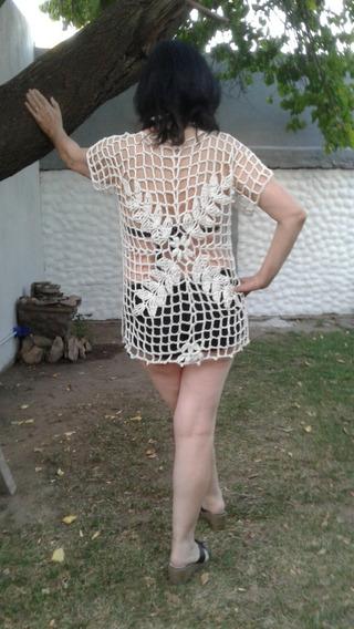 Camisola Calada Sweater Amplio Vestido Playero Túnica Verano
