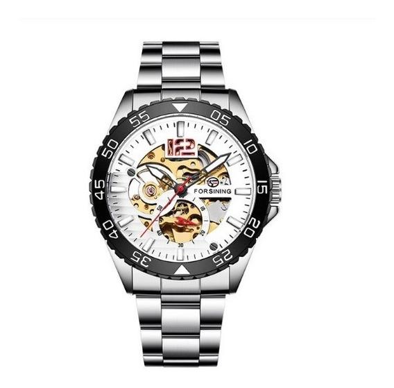 Relógio Masculino Mecânico Automático Luxo Prateado Original