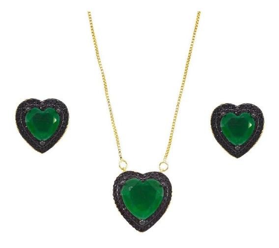Conjunto Pedra Fusion Esmeralda Coração Cravejado Zircônias