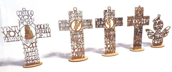 30 Cruz Ángel Con Oración De 25 Cm Recuerdo Bautismo Madera