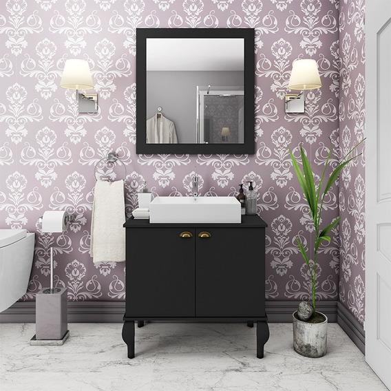 Gabinete De Banheiro Provençal Completo Balcão - Preto