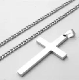 Corrente/pingente/cruz. Aço Inox.