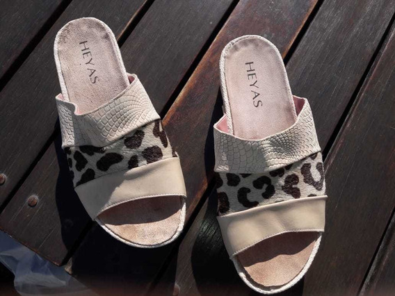 Zapatos Suecos Mujer Natural Con Animal Print