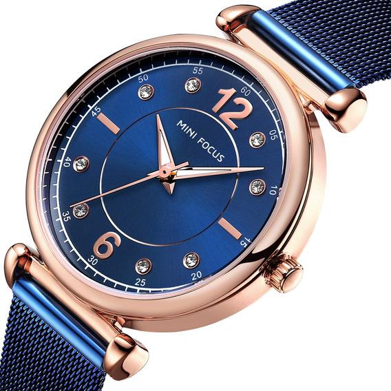 Elegante Design Malha Aço Mulheres Relógio De Pulso Cristal