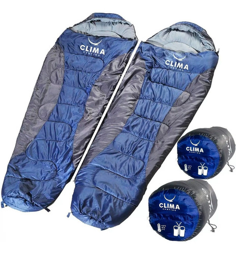 2 Saco De Dormir Casal Clima Extremo -5° C + 18º C Camping
