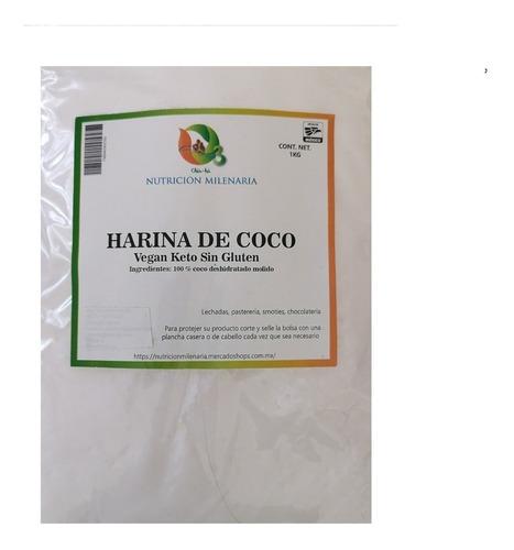 Imagen 1 de 4 de Harina De Coco 100% 1 Kg Sin Gluten Vegan-keto Sin Azucar