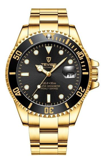 Relógio Masculino Tevise T801 Automático Pulso Dourado Nf
