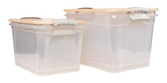 Kit 4 Caixas Organizadoras 2x20l E 2x30l Multiuso Begônia