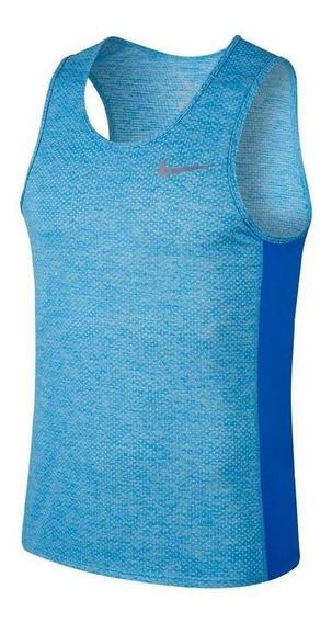 Regata Nike Breathe Miler Tank Cool Azul Mescla