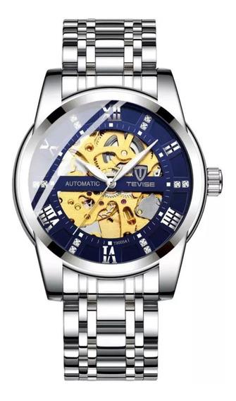 Relógio Tevise Automático Mecânico T9005 Prata Azul Dourado