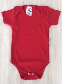 Body Bebê - Suedine (kit C/3) Liso - Manga Curta - Vermelho