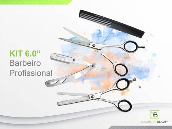 Kit Barbeiro 6.0 Tesoura Fio Laser+ Desbast+ Navalhet+ Pente