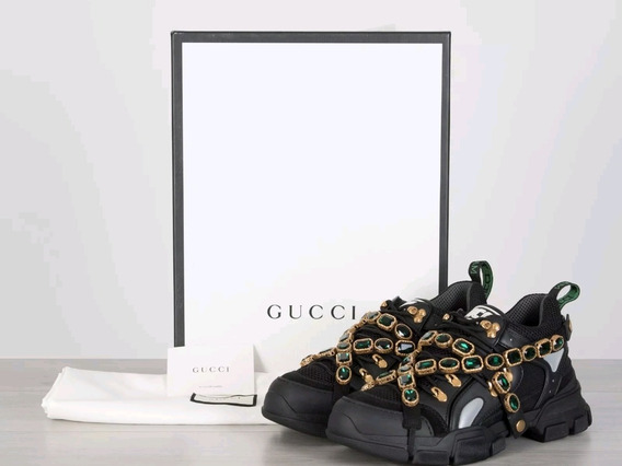 Gucci Black Flashtrek Sneakers Con Cristales Removibles