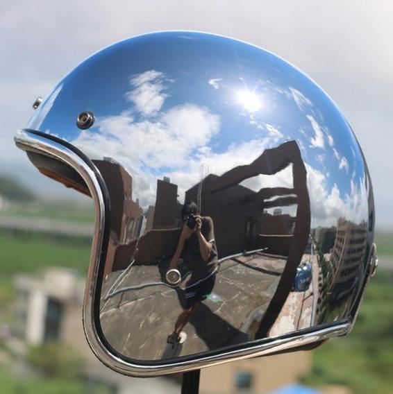 Capacete Moto Clássico Cromado Com Viseira Bolha Espelhada