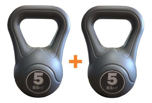 2 Pesas Rusas Bsfit Kettlebell Plastica 5k Fitness Mancuerna
