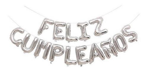 Set Globos Metalizado Feliz Cumpleaños X15