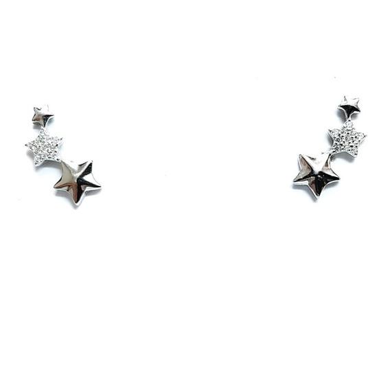 Brinco Feminino Ear Cuff Estrelas Prata Legítima 925