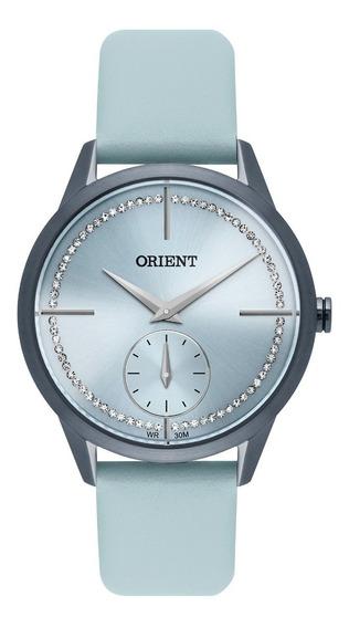 Relógio Feminino Azul Orient Pulseira De Couro E Pedras