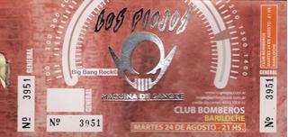 Entrada Los Piojos Bariloche Sin Cortar ( Big Bang Rock)