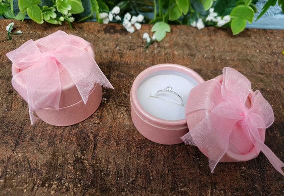 Caixinha De Papelão, Modelo Cilíndrico Cor-de-rosa (anel)