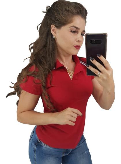 Kit C/3 Roupas Femininas Gola Polo Lisas Camisas Camisetas