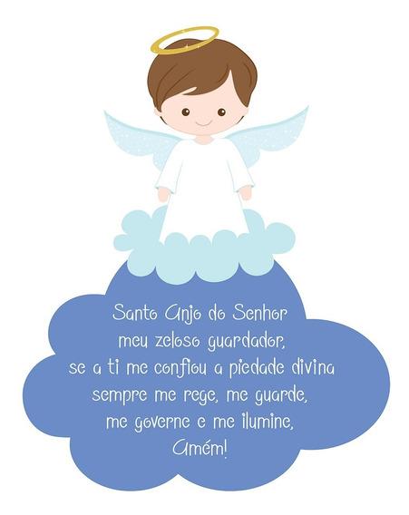 Quadrinho Oração Santo Anjo Chá De Bebê Decoração Mdf