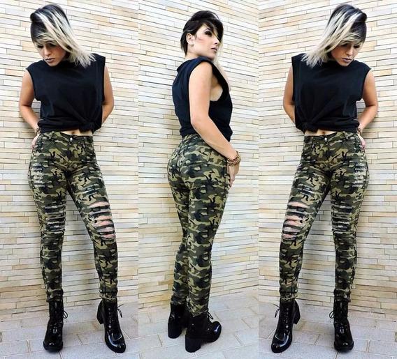 Calça Camuflada Militar Cintura Média Estampada Moda Insta