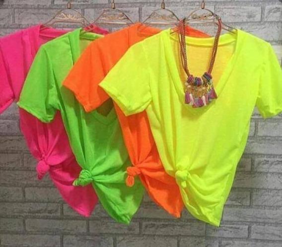 Kit 4 Blusa Neon Básica T-shirt Podrinha Preço Atacado