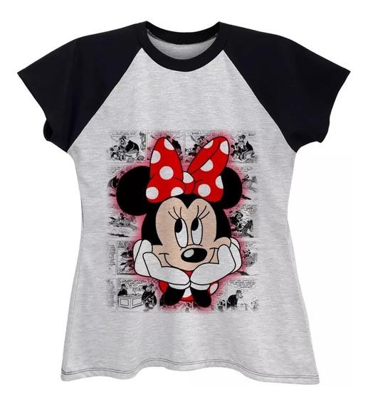 Camiseta Raglan Feminina Minnie Rosto Plus Size Até G6