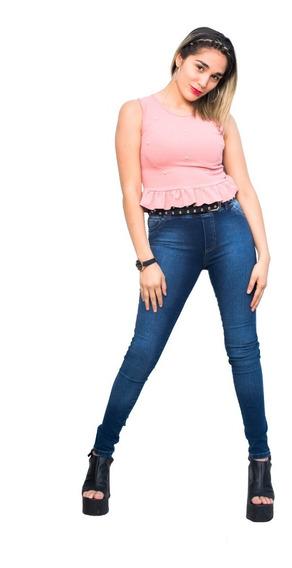 Pantalón Jeans Elastizado, Tiro Medio, Mujer! Maleva (34-54)