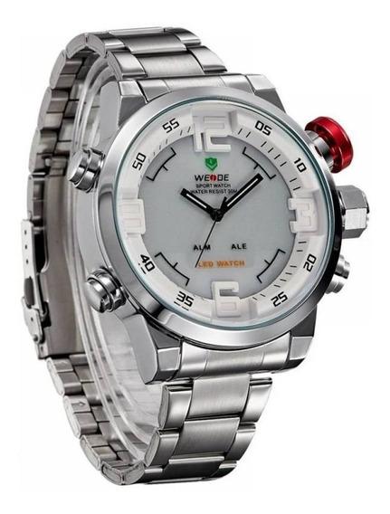 Relógio Masculino Weide Anadigi Casual Wh-2309 Branco
