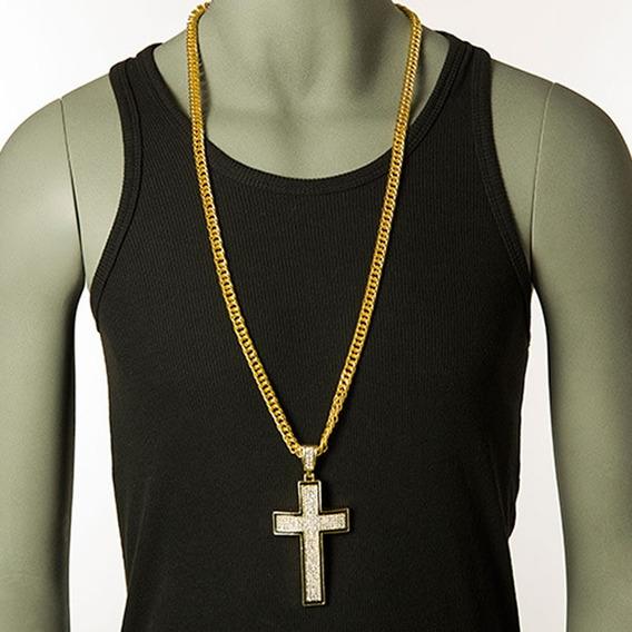 Corrente Masculina Cruz Crucifixo Hip Hop Pedra Folheada 206