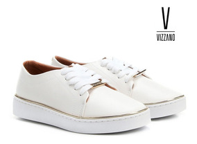 Tênis Casual Vizzano Feminino Branco Dourado Original