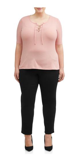 Pantalon Dama Extra 3x 22w-24w Jms Pull-on Alg/spand Negro