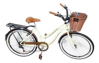 Bicicleta Aro 26 Retrô Feminina Com Cesta Personalizada 6 V