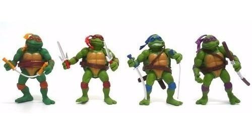 Kit 4 Bonecos Tartarugas Ninjas Pvc + Acessório Frete Grátis