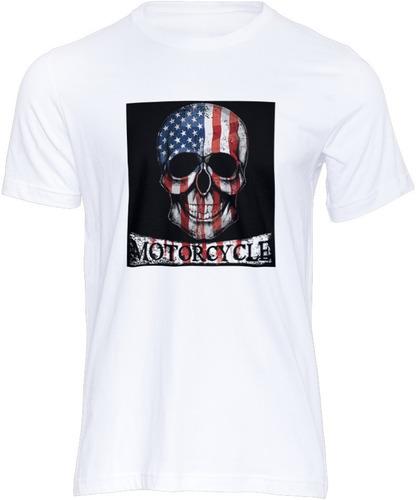 Imagem 1 de 1 de Camiseta  Caveira Motocicleta Usa Design Moda Estilo Tshirt