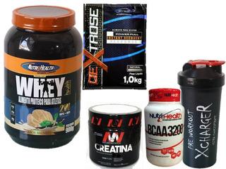 Kit Whey Health + Dextrose + Creat + Bcaa + Shaker