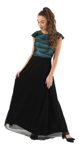 Vestido Largo Fiesta Negro Y Petroleo Verde Azul Sin Espalda