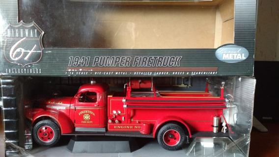 Miniatura 1/16 Highway 1941 Pumper Fire Truck Bombeiro Rara