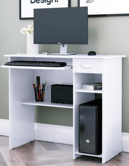 Mesa P/ Computador Viena Branco - Moveis P/ O Lar #