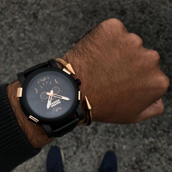 Reloj Negro De Calavera Detalles Dorados De Acero Inoxidable