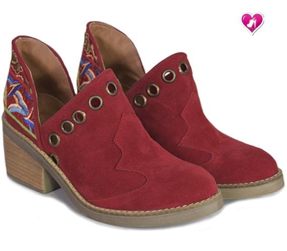 Bota Botineta Charrito Bordada Mod Talya De Shoes Bayres