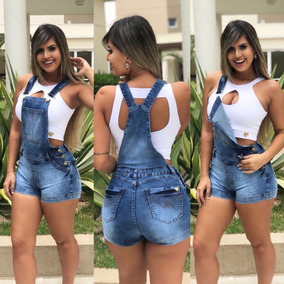 Jardineira Jeans Shorts Roupas Femininas Com Lycra Promoção