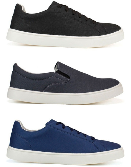 Sapato Tenis Casual Sapatênis Slip On Masculino Kit 3 Pares